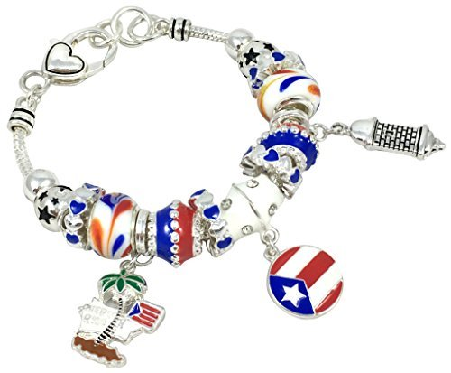 Puerto Rico Theme Murano Glass Charm Bracelet 7.5 Inch (Silver Tone)