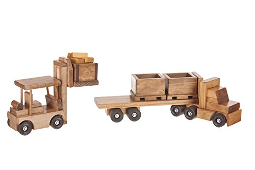 (Large Wooden Truck & Bin Trailer with Forklift Toy Set, Amish-Made)
