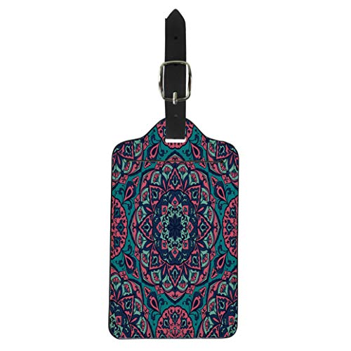 Semtomn Luggage Tag Pink Turkish Bright Floral Pattern Mandalas Mottled Multicolor Blue Suitcase Baggage Label Travel Tag Labels