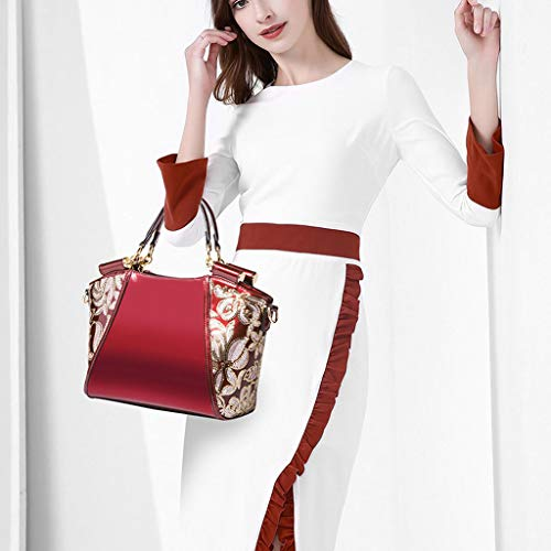 Lxf20 Perles Lady fourre Red Mesdames tout sac sac broderie à Messenger PU bandoulière sac Portable Noble rCrwOxzq0