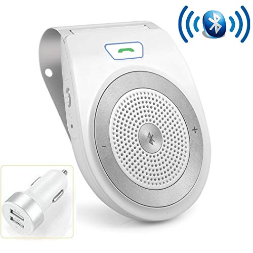 (Bluetooth Handsfree for Cell Phone Car Speaker, Aigital Wireless Car Speakerphone on Sun Visor, Clear Sound for Hands Free Calling Music, AUTO Power ON Function and Supports Siri - White)