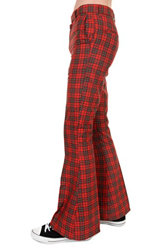 Mens Run & Fly 60s 70s Vintage Red Royal Stewart Tartan Plaid Bell Bottom Trousers 32 Regular - Vintage 70s Plaid