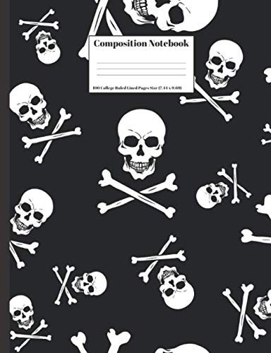 Composition Notebook: Human Skull And Bones Halloween Design