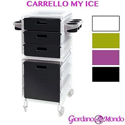 Carro para peluquería y barbería Almacenamiento Puerta secador Tijeras Peine Tinte Pelo My Ice rosa –