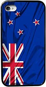 Rikki KnightTM New Zealand Flag Design iPhone 4 & 4s Black Case Cover (Black Rubber with bumper protection) for Apple iPhone 4 & 4s