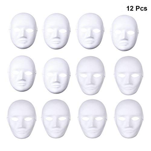 OULII Full Face DIY Mask Halloween Blank Painting Mask Cosplay Masquerade Halloween Party Favors (6pcs Male 6pcs Female)]()