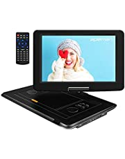 APEMAN 15.5 inch Portable DVD Player with High Resolution, Large Size Screen, 6000mAh/6 Hours Rechargeable Battery, Direct Play in Formats AVI/RMVB/MP3/JPEG, Support USB and SD Card(Black)