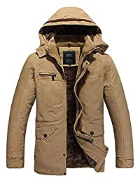pit4tk Men's Winter Thickened Zip up Hooded Outerwear Jacket Parka Coat with Sherpa Lining