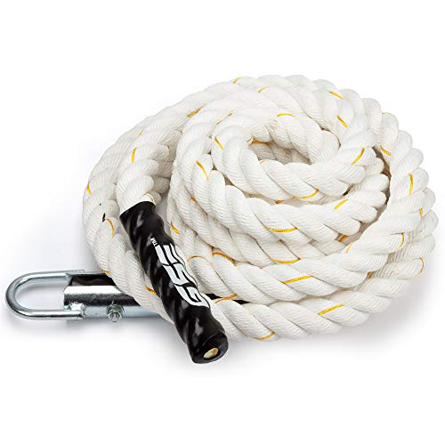GSE Games & Sports Expert Sisal/Poly Gym Fitness Training Climbing Ropes (6ft to 50ft Available) (White Poly, 6')
