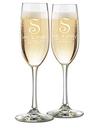 French Monogram - Custom Wedding Champagne Flutes- Set of 2 - Single Initial French Monogram, Bride and Groom First Names with Wedding Date - Personalized for Bride and Groom - Customized Engraved Wedding Gift