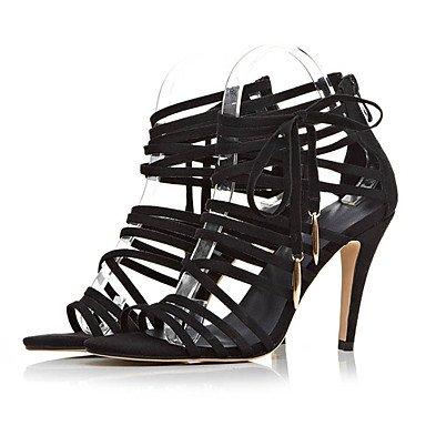 donna Altro ligaosheng Felpato black A stiletto e Formale Sandali Casual Da Nero festa Serata 185qH