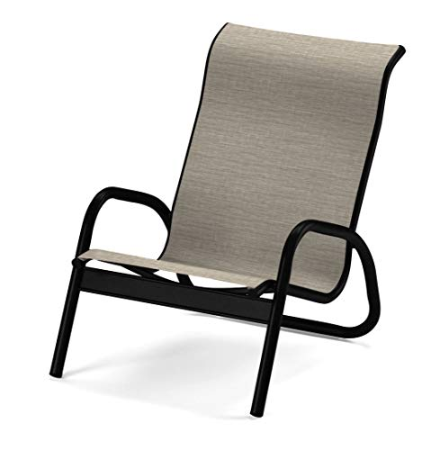 Telescope Casual Furniture Gardenella Sling Collection Stacking Aluminum Poolside Chair, Bark, Textured Black Finish