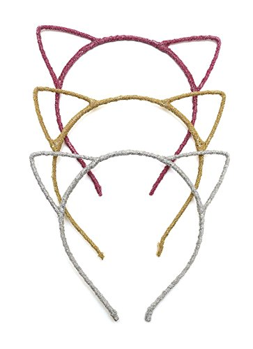 Glitter Cat Ears Headbands   Cute Fun Romantic Glitter Hair Band Hoop - Great for Holiday and Parties - for Babies Children and Adults- 3 Pack - Gold Silver Pink -