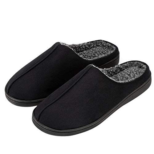 - FUNKYMONKEY Men's Comfort Indoor Slippers Suede Berber Fleece Lined Anti-Skid House Shoes (7 D(M) US, Black)