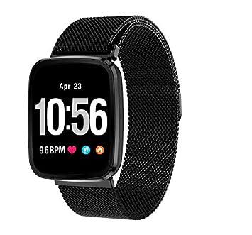 Wan Bo V6 Fitness Tracker Pulsera de Actividad Tracker Reloj Inteligente Pulsera Fitness, Metal Negro: Amazon.es: Deportes y aire libre