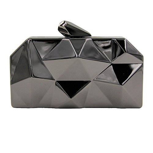 Clutch Women Black Metal Clutches Geometic NBWE Fashion Purse Evening Clutch HA0axAwn