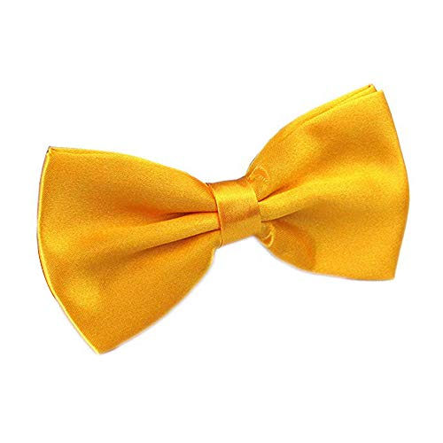 (Alizeal Men's Pre-Tied Adjustable Length Solid Color Tuxedo Bow Tie, Yellow)