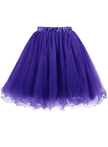 Emondora Women's Short 5 Layers Tutu Tulle Skirt Petticoat Prom Cocktail Dress Dark Purple Size XL (Masked Ball Outfit)