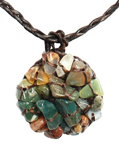 Bijoux De Ja Handmade Green Tone Mixed Stone Chips Crochet Pendant Necklace 16 - In Near Jobs Me Macy's