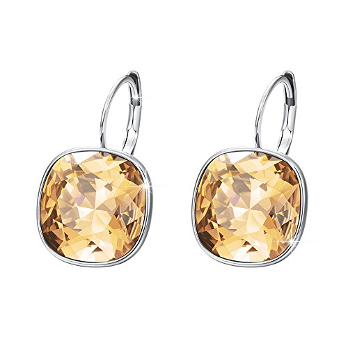 Xuping Gorgeous Fashion Crystals from Swarovski Huggies Hoop Earrings Women Girl Party Jewelry Mom Gifts (Yellow-Gold)]()