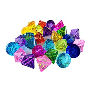 HAPTIME 40 Pcs Big Acrylic Diamond Artificial Gems Pirate Treasure for Home Decoration, Table Scatters, Vase Fillers, Event, Wedding, Party, Birthday Decor 80