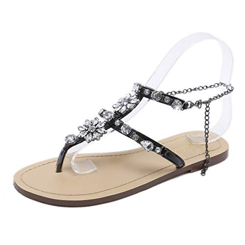(Stupmary Women Flat Sandals Crystal Summer Gladiator Sandals Flip Flops Beach Party Shoes Chains Floral Black, 6 M Us)