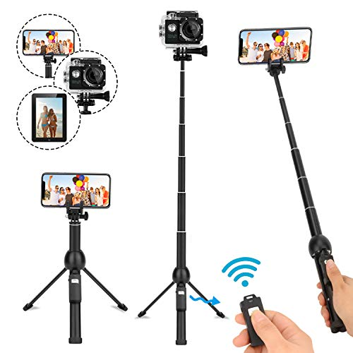 Selfie Stick Bluetooth,45 Inch Extendable Selfie Stick Tripod with Wireless Remote Control for iPhone 6 7 8 X Plus,Samsung Galaxy S9 Note8, Gopro