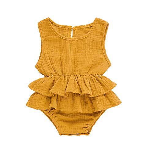 Baby Girl Outfits Shusuen Newborn Infant Sleeveless Solid Romper Bodysuit Clothes Elegant Ruffles Pajamas Yellow