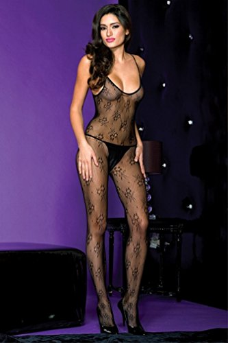 Seamless Strap Spaghetti Bodystocking (Item Name Collection Seamless lace spaghetti straps crotchless body stocking(BLACK,OS))
