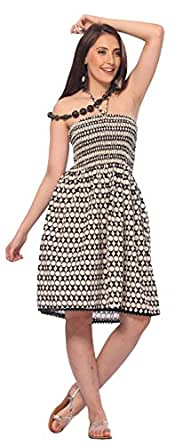 One-size-fits-most Tube Dress/Coverup- 100% Cotton Lace Worked (Creme Black)