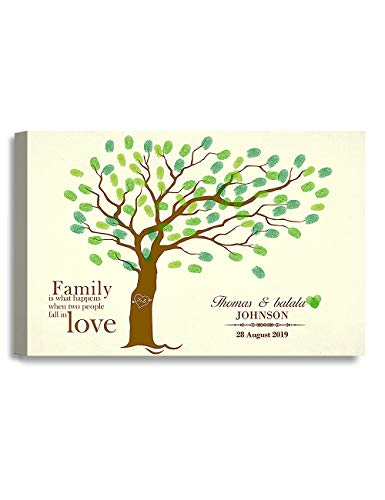 Personalized Name Prints - DECORARTS - Fingerprints Tree - Creative DIY Fingerprints Guest Book Canvas Artwork, Includes Personalized Names and Dates - Perfect for Wedding & Family Party