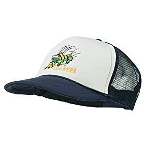 Navy Seabees Symbol Embroidered Mesh Trucker Cap - Navy White