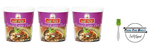 Mae Ploy Thai Panang Curry Paste - 14 oz jar (Pack of 3) with Silicone Basting Brush in a Prime Time Direct Sealed Bag