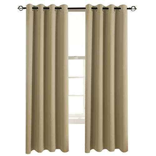 Inner Panel Glass (Aquazolax Blackout Curtain Panels for Glass Door Nursery Essential Thermal Insulated Solid Grommet Top Blackout Draperies/Drapes, 1 Pair, 54 x 72 Inch, Taupe/Khaki)