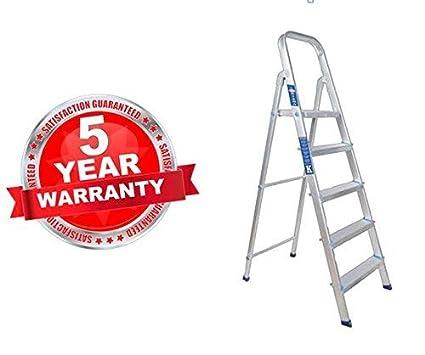 PlutoMax Kisha 4 Step Plus Platform Heavy Aluminium Folding Ladder (Colour May Vary)