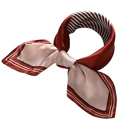 (RIIQIICHY Women's 27.31'' Silk Satin Square Stripe Print Hair Head Scarf Neckerchief)