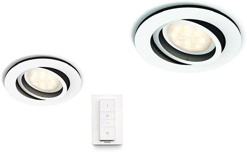 White Philips Hue White Ambiance Milliskin 5.5 W GU10 Recessed Spotlight