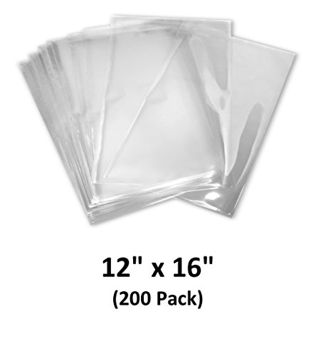 Shrink Wrap Tunnel (12x16 inch Odorless, Clear, 100 Guage, PVC Heat Shrink Wrap Bags for Gifts, Packagaing, Homemade DIY Projects, Bath Bombs, Soaps, and Other Merchandise (200 Pack) | MagicWater Supply)