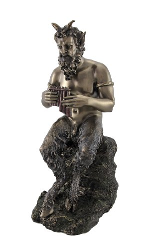 Veronese Bronzed Finish Pan Playing Flute Statue Greek Mythology Faun