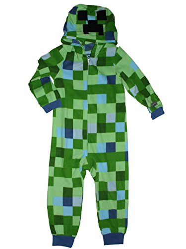 AME Minecraft Charged Creeper Fleece Hooded Union Suit Boys Pajamas, Green, X-Small / 4-5