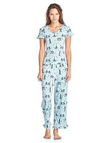 BHPJ By Bedhead Pajamas Women's Soft Knit Ruffle Short Sleeve Capri Pajama Set - Lt. Blue Sketched Building - XX-Large (Trim Capris Knit)