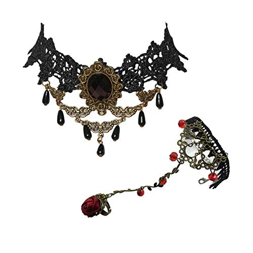 - Milakoo Red Flower Rose Beads Popular Girl Gothic Lolita Black Lace Collar Choker Necklace Bracelet