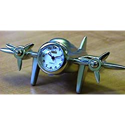 Sanis Enterprises Prop Airplane Clock, 4 by 2.5-Inch, Silver