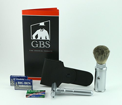 Price comparison product image Merkur Futur 700 Matte Safety Razor with Bonus GBS Badger Travel Brush + 25 Safety Blades + Free Leather Case