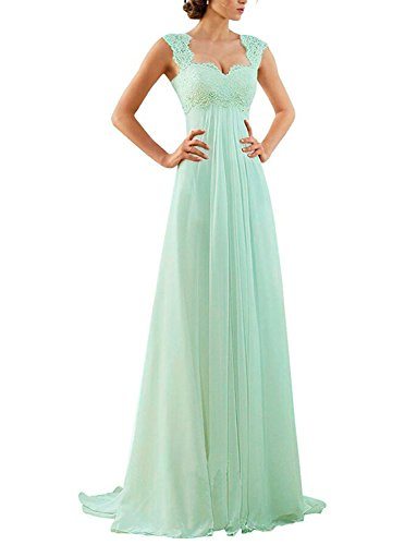 Erosebridal Empire Waist Beach Wedding Dress Lace Chiffon Prom Dress Gowns Size 6 Mint