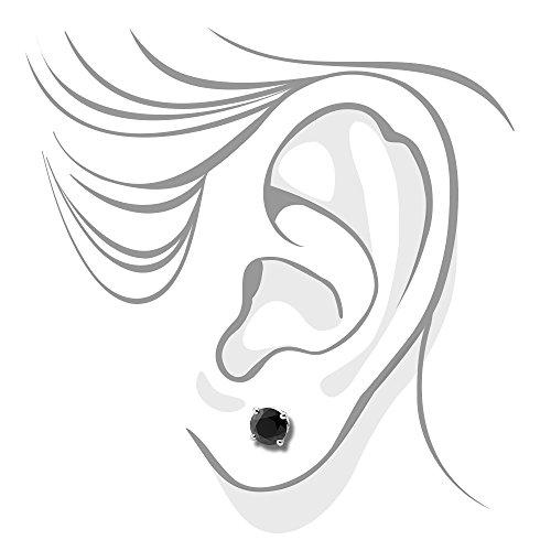 1carat or blanc 14carats Diamant Noir Boucles d'oreilles 4griffes rond