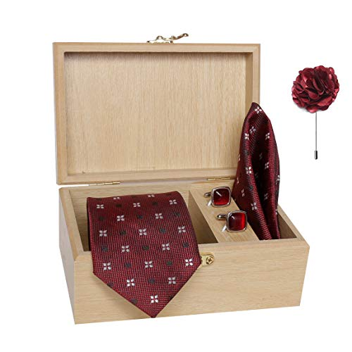 nu-Lite Men's Micro Polyester Necktie Set with Pocket Square, Brooch Pin and Cufflinks in Wooden Box (Free Size)