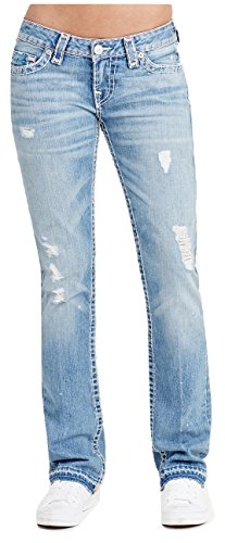 True Religion Women's Billie Straight Low Rise Super T Jeans In Indigo Fossil (Low Rise Straight Jeans)