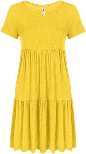 Simlu Womens Mustard Dress Mustard Yellow Summer Loose Dress reg and Plus Size Dress Yellow X-Large, Yellow, X-Large (Doll Juniors Top Baby Tiered)