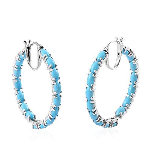 (Hoops Hoop Earrings 925 Sterling Silver Platinum Plated Oval Sleeping Beauty Turquoise Jewelry for Women)
